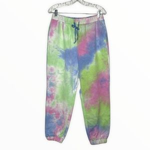Blank NYC Tie Dye Jogger Pants Pink Blue Green Colorful